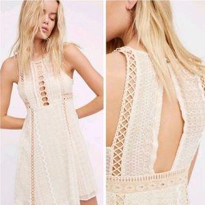 Free People Wherever You Go Crochet Mini Dress EUC